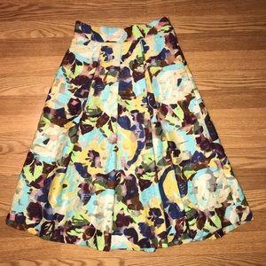 Zara Sheer Floral Midi Pleated Skirt XS NWT